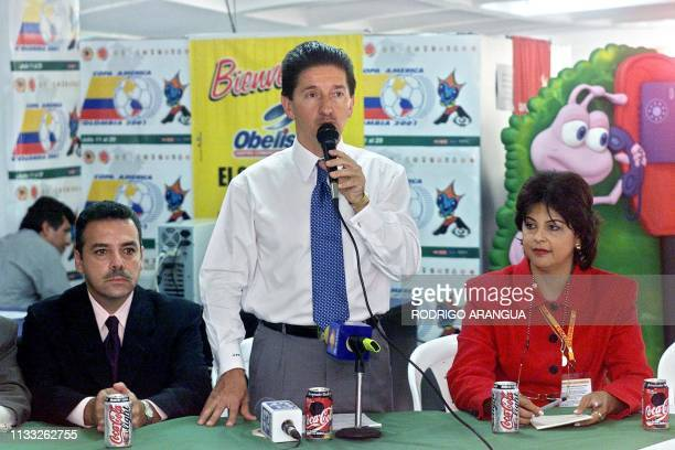 The mayor of Medellin Colombia Luis Perez Medellin Manager of the Inder Francisco Zavala and Copa America press coordinator Maria Victoria Jimenez 12...