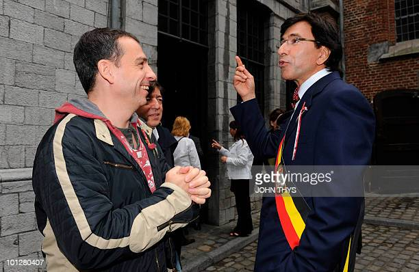 The Mayor of Mons Elio Di Rupo and comedian Francois Pirette pictured during the Ducasse Doudou feast Sunday 30 May 2010 in Mons The Doudou feast...