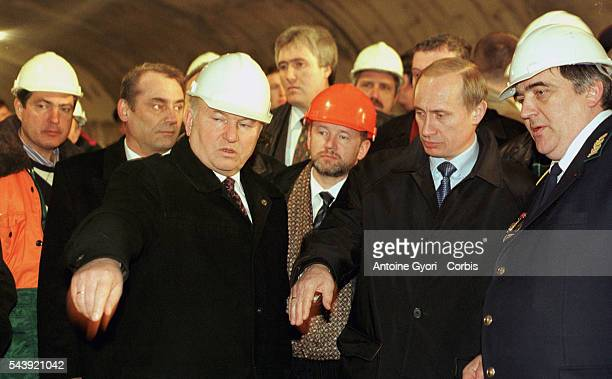 The Mayor of Moscow Yuri Luzhkov and Vladimir Putin arrive at the site of the new subway line