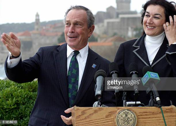 The mayor of New York City Michael R Bloomberg and the mayor of the Croatian town of Dubrovnik Dubravka Suica address the journalists in Dubrovnik 03...