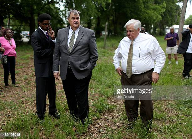 The Mayor of North Charleston Keith Summey and Police Chief Eddie Driggers stand together at the site where Walter Scott was killed by a North...