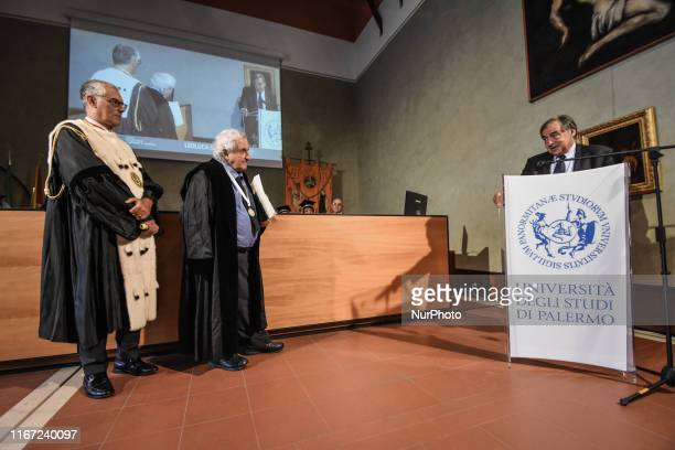 The mayor of Palermo, Leoluca Orlando makes his speech after the magnificent rector Fabrizio Micari of the University of Palermo has conferred the...