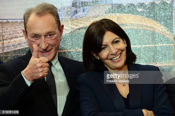 The mayor of Paris Anne Hidalgo and former Mayor of Paris Bertrand Delanoe inaugurated La Canopee du Forum des Halles on April 5 2016 in Paris France...