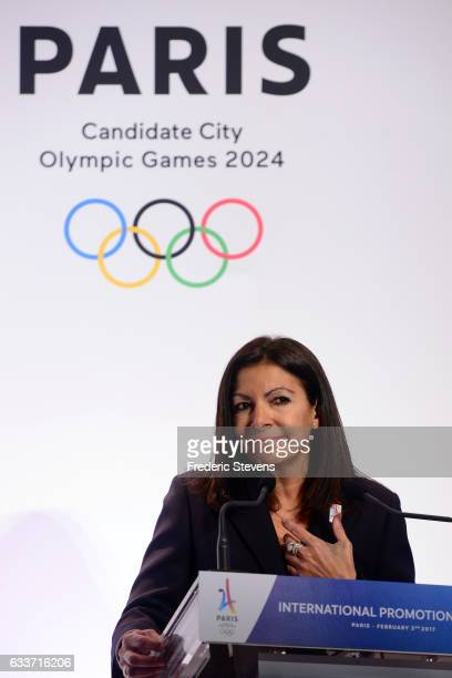 The mayor of Paris Anne Hidalgo and the bid committee of Paris 2024 presented its project at an international press conference at the Trocadero on...