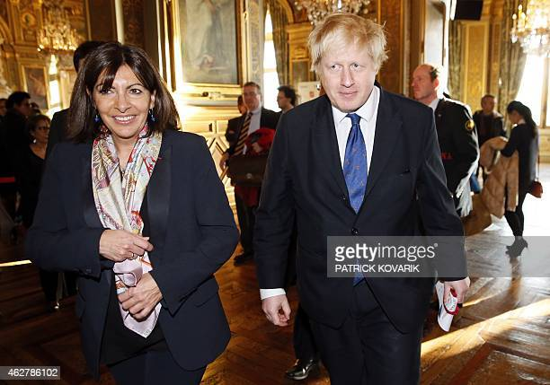 The Mayor of Paris Anne Hidalgo and the Mayor of London Boris Johnson walks after giving a joint press conference to present the Tandem ParisLondon...