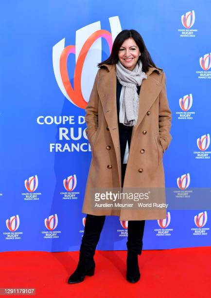 The Mayor of Paris, Anne Hidalgo arrives prior to the Rugby World Cup France 2023 draw at Palais Brongniart on December 14, 2020 in Paris, France