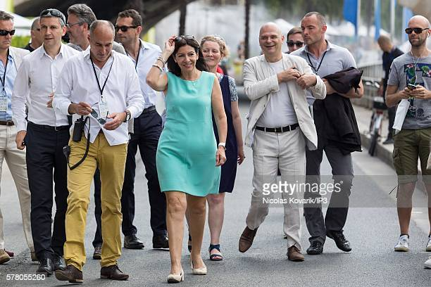 The Mayor of Paris Anne Hidalgo inaugurates 'Paris Plage' on July 20 2016 in Paris France Running until September 4 'Paris Plage' allows the public...