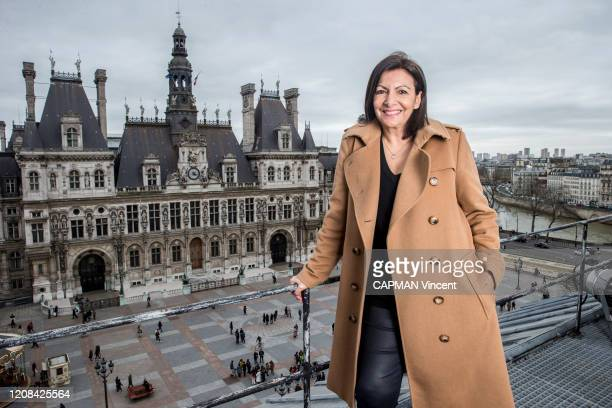 The mayor of Paris Anne Hidalgo is photographed for Paris Match on the roofs in front of the City hall of Paris on February 22, 2020 in Paris, France.