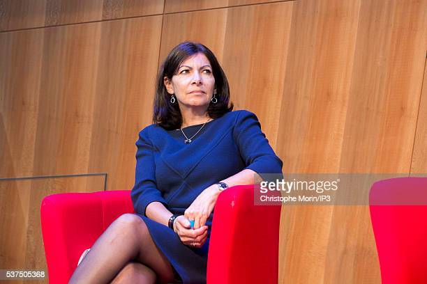 The Mayor of Paris Anne Hidalgo presents to the press the international campaign promoting the 'destination Paris' at the Eiffel Tower on May 30 2016...