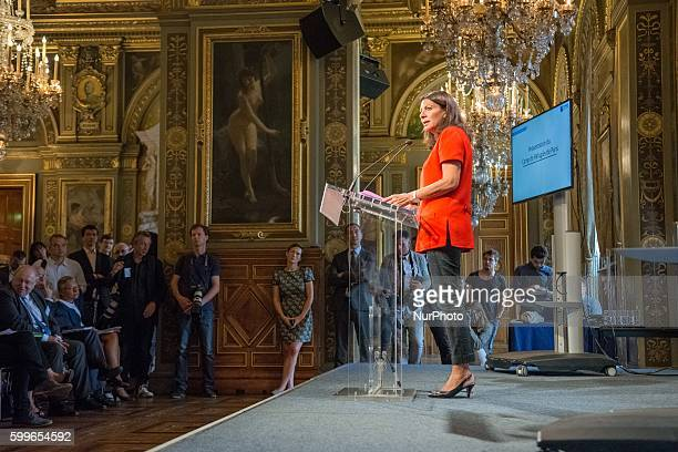 The Mayor of Paris Anne Hidalgo speaks to the press as she announces on September 6 2016 in Paris the opening of the city's first refugee camp by...