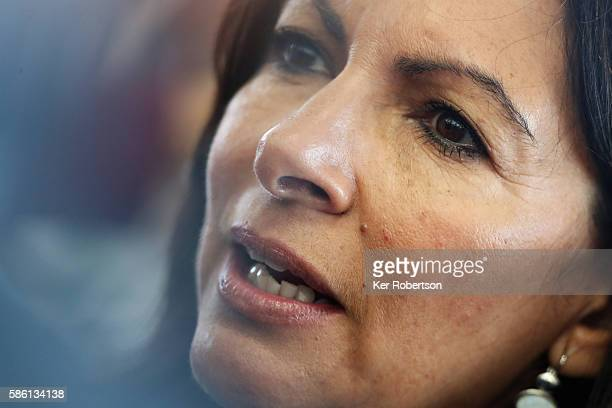 The Mayor of Paris Anne Hidalgo talks while attending a press conference given by the Paris 2024 Candidate Olympic City delegation on August 5 2016...