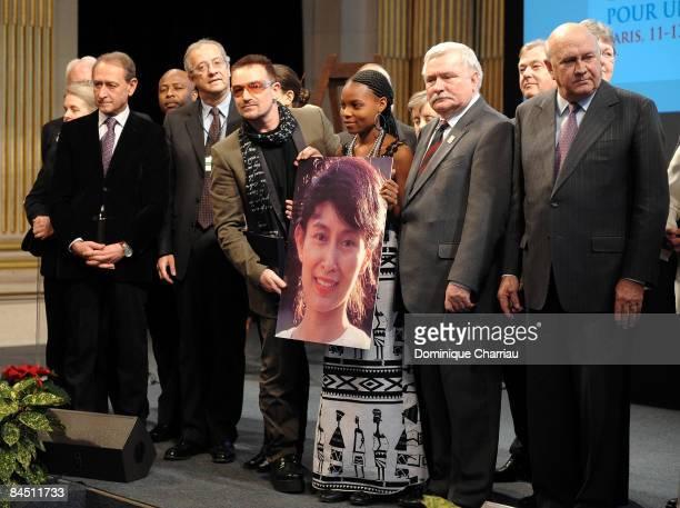 The Mayor of Paris Bertrand Delanoe, Former Mayor of Rome Walter Veltroni, lead Singer of U2 Bono, Recepient of the International Children's Peace...