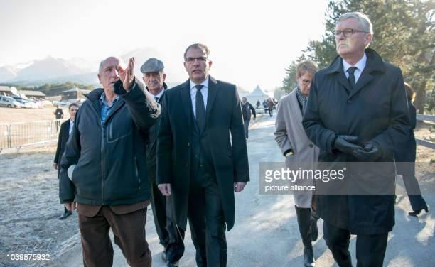 The mayor of PradsHauteBleone Bernard Bartolini and of Le Vernet Francois Balique the former CEOof Germanwings Thomas Winkelmann and the CEOof...