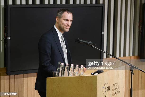 The Mayor of Prague Zdenek Hrib speaks on the podium prior to a signing ceremony with his counterparts from Budapest Bratislava and Warsaw for a...