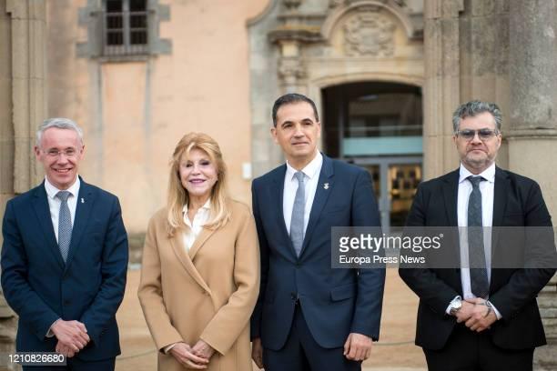 The mayor of Puigcerda Albert Piñeira the Thyssen baroness Tita Cervera the mayor of Sant Feliu de Guixols Carles Motas and Guillermo Cervera pose...