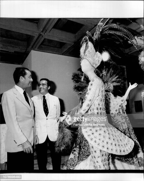 The mayor of Rio, Senor Julio Coltinho and the Brazilian ambassador inspect traditional Mardi Gras costumes on display at the art gallery of NSW. The...