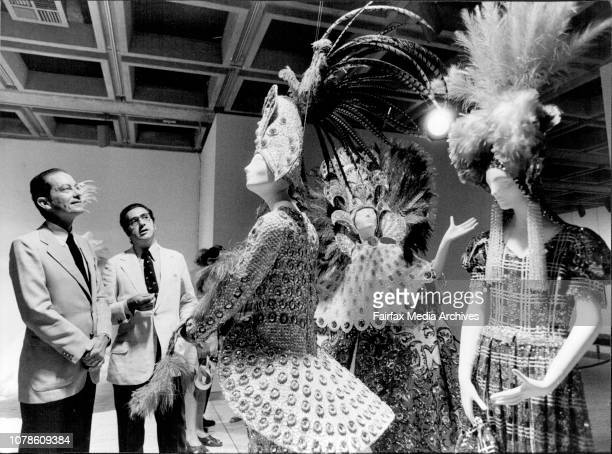 The Mayor of Rio, Senor Julio Coutinho and the Brazilian Ambassador inspect traditional Mardi Gras costumes on display at the art gallery of NSW. The...