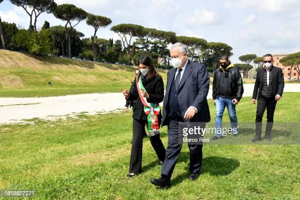 The mayor of Rome Vergina Raggi and SS Lazio President Claudio Lotito during 2774th Rome foundation's Anniversary on April 21, 2021 in Rome, Italy.
