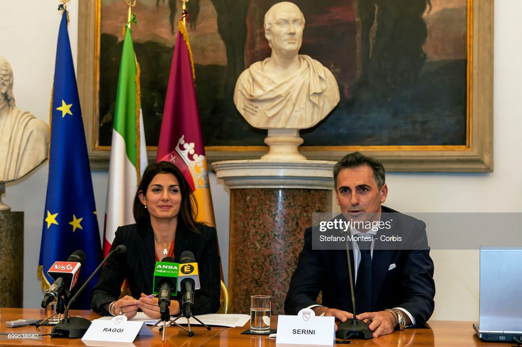 The Mayor of Rome Virginia Raggi and Fabio Serini Director Ipa during the press conference to present the relaunch and development of Ipa, the employee welfare and assistance institute of Roma Capitale on December 29, 2017 in Rome, Italy.
