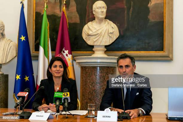 The Mayor of Rome Virginia Raggi and Fabio Serini Director Ipa during the press conference to present the relaunch and development of Ipa the...