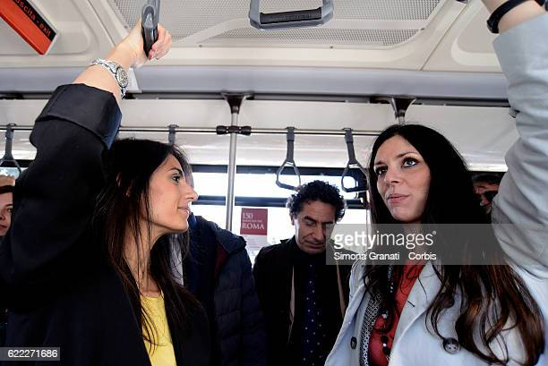 The mayor of Rome Virginia Raggi and the councilor for mobility Linda Meleo traveling by bus during the presentation of the first 25 of 150 new buses...