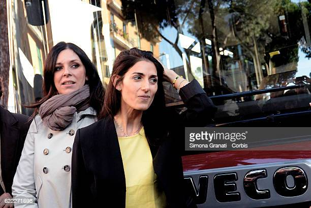 The mayor of Rome Virginia Raggi and the councilor for mobility Linda Meleo during the presentation of the first 25 of 150 new buses purchased from...