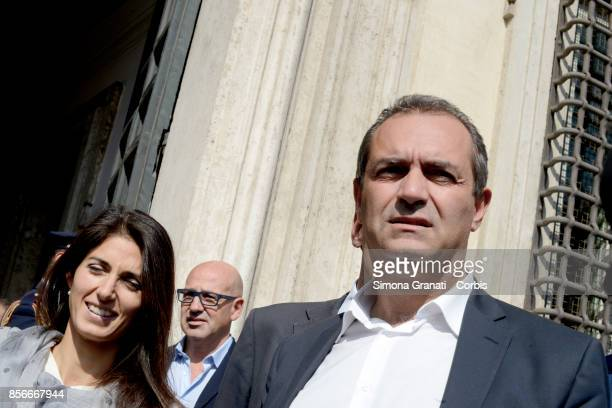 The Mayor of Rome Virginia Raggi and the Mayor of Naples Luigi De Magistris leave Palazzo Chigi after the meeting with the President of the Council...