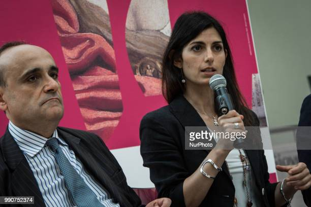 the Mayor of Rome Virginia Raggi and the Minister of Cultural Heritage and Activities and Tourism Alberto Bonisoli during the press conference to...