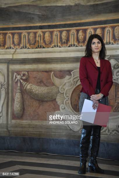 The mayor of Rome Virginia Raggi attends the inauguration of the 'Hall of the Horatii and Curiatii' following the restoration of the frescoes on...