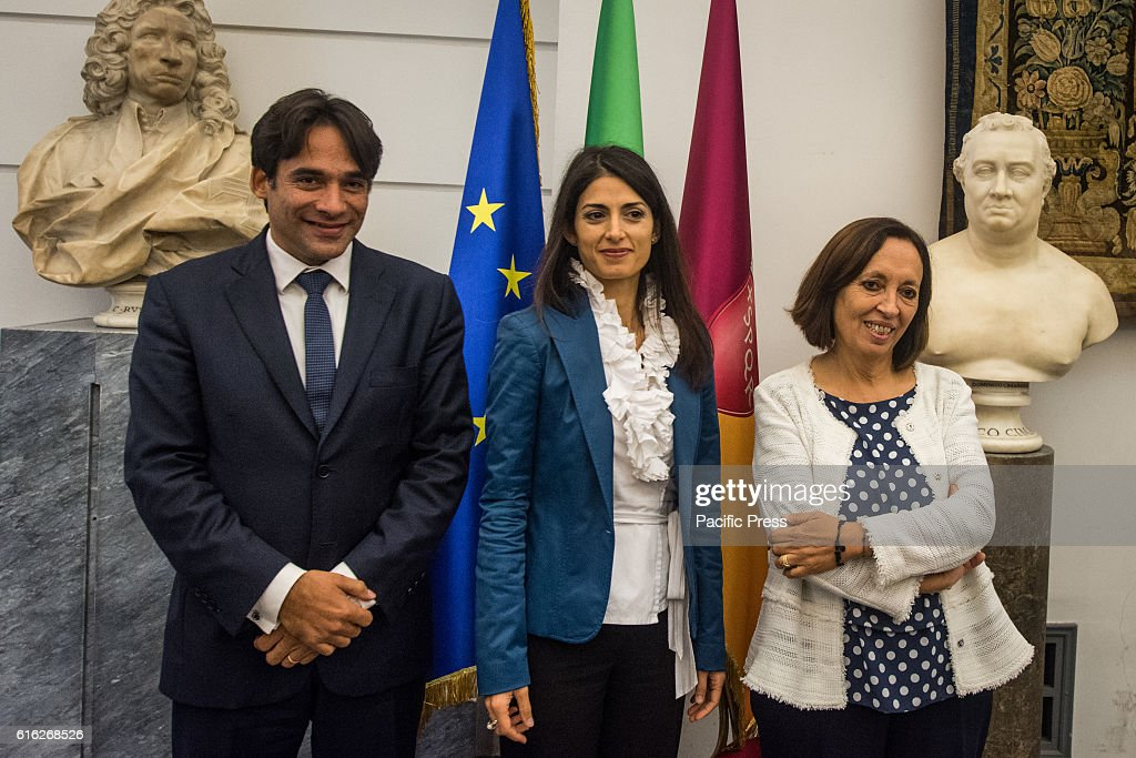 The mayor of Rome Virginia Raggi, Councillor Andrea Mazzillo of budget with the commissioner simple of Rome Flavia Marzano during presentation of the operation Capitol Open Budget, the online publication of the Capitoline budgets in Rome.