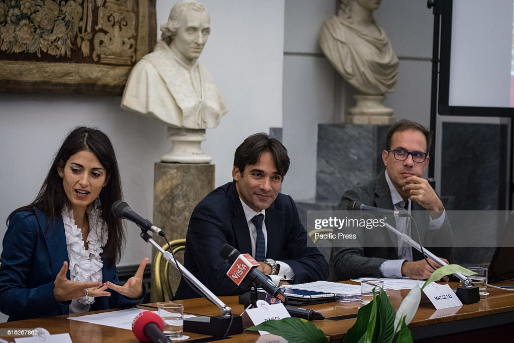 The mayor of Rome Virginia Raggi, Councillor Andrea Mazzillo on budget with the President of Openpolis, Vittorio Alvino during presentation of the operation Capitol Open Budget, the online publication of the Capitoline budgets in Rome.