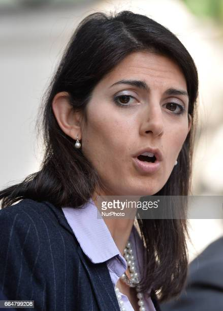 The Mayor of Rome Virginia Raggi during presentation Plan for the postConsumables materials Rome on april 05 2017