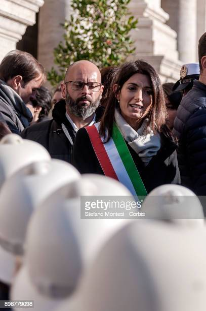 The Mayor of Rome Virginia Raggi during the inauguration the 'Christmas nativity scene' in the piazza del Campidoglio on December 21 2017 in Rome...