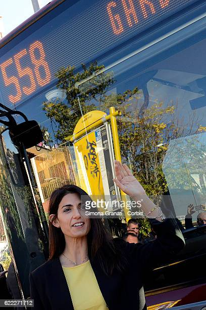 The mayor of Rome Virginia Raggi during the presentation of the first 25 of 150 new buses purchased from the Capitolon November 9 2016 in Rome Italy