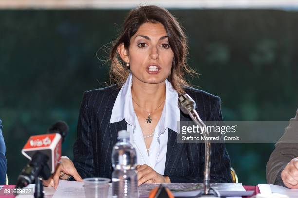 The Mayor of Rome Virginia Raggi during the press conference at the Scenography laboratories of the Teatro dell' Opera for the presentation of the...