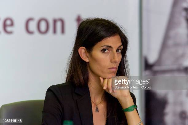 """The mayor of Rome Virginia Raggi, during the press conference """"Atac of the future starts again with you"""" on the reorganization of the ATAC public..."""