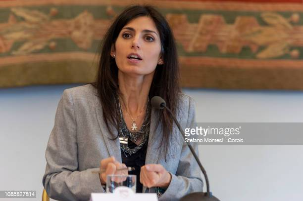 The mayor of Rome Virginia Raggi during the press conference in the Capitol to present the new civil protection plan of rome capital to manage...