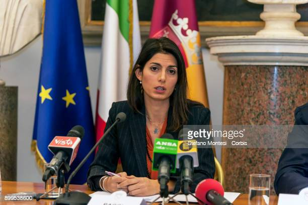 The Mayor of Rome Virginia Raggi during the press conference to present the relaunch and development of Ipa the employee welfare and assistance...