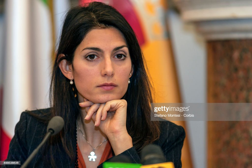 The Mayor of Rome Virginia Raggi during the press conference to present the relaunch and development of Ipa, the employee welfare and assistance institute of Roma Capitale on December 29, 2017 in Rome, Italy.
