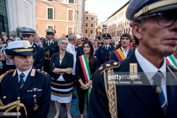 The Mayor of Rome Virginia Raggi during the Solemn celebrations and procession in honor of Madonna del Carmine Our Lady of Roman Citizens called 'de...