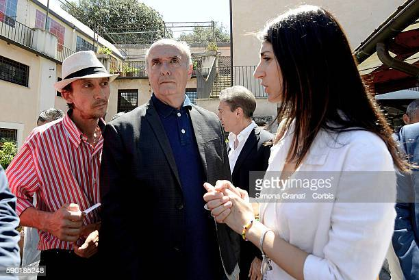 The mayor of Rome Virginia Raggi greet the volunteers and guests of the soup kitchen of Colle Oppio on the feast day of Auguston August 15 2016 in...