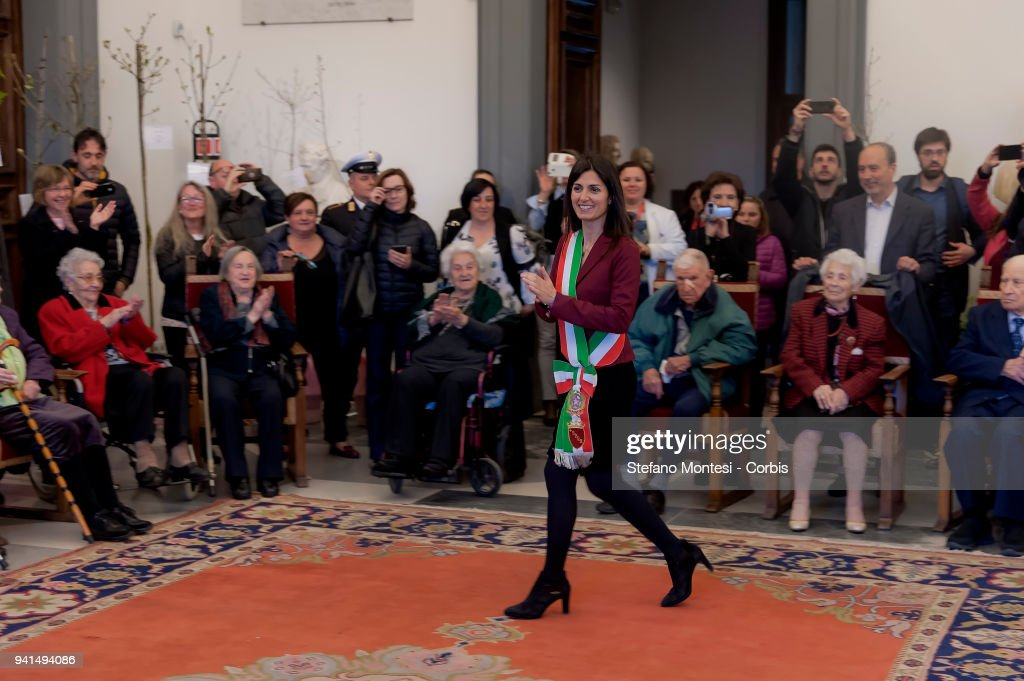 The Mayor of Rome Virginia Raggi meets the citizens of Rome at the Capitoline Hill who celebrated their 100th birthday in January, February and March 2018 on April 3, 2018 in Rome, Italy. The twenty centenarians have received a parchment, a medal, and will also be dedicated a tree to plant in the city, which will bear a tag with their name.