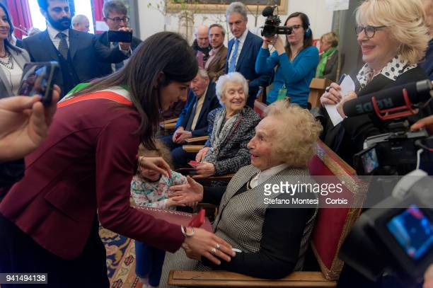 The Mayor of Rome Virginia Raggi meets the citizens of Rome at the Capitoline Hill who celebrated their 100th birthday in January February and March...