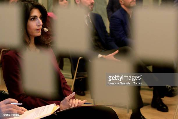 The Mayor of Rome Virginia Raggi participates at the presentation of the exhibition 'Google The Grand Tour of Italy' at the Macro Museum of Testaccio...