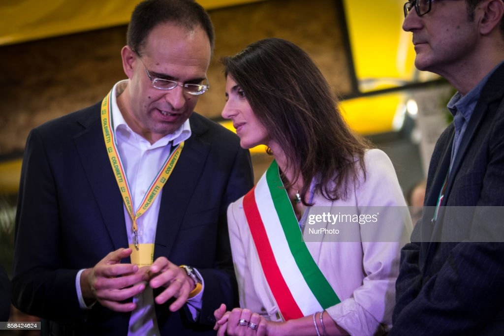 The mayor of Rome, Virginia Raggi, participates in the inauguration of the Farmer's Market of San Teodoro at Circus Maximus on 6 October 2017 in Rome, Italy.
