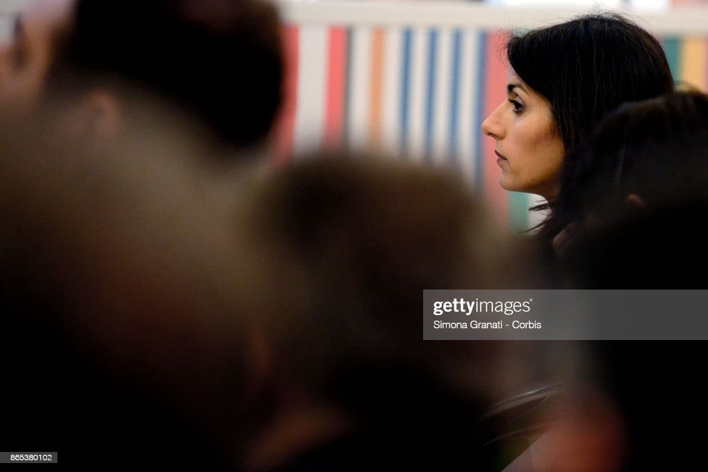 The Mayor of Rome Virginia Raggi participates in the International Summit on Water and Climate at the Sala della Protomoteca, in Piazza del Campidoglio, on October 23, 2017 in Rome, Italy.