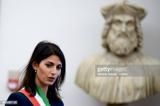 The Mayor of Rome Virginia Raggi participates in the International Summit on Water and Climate at the Sala della Protomoteca in Piazza del...