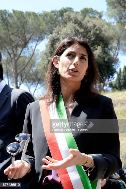 The Mayor of Rome Virginia Raggi pay tribute to the victims of the Ardeatine Massacre of 1944 in Fosse Ardeatine on May 3 2017 in Rome 335 civilians...