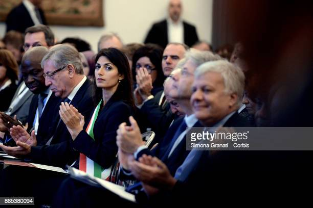 The Mayor of Rome Virginia Raggi Premier Paolo Gentiloni and Minister Gian Luca Galletti participate at the International Summit on Water and Climate...