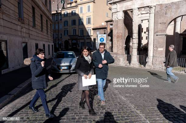 The Mayor of Rome Virginia Raggi presents the new technological model of selective waste collection in the Rome's Jewish Quarter on November 27 2017...